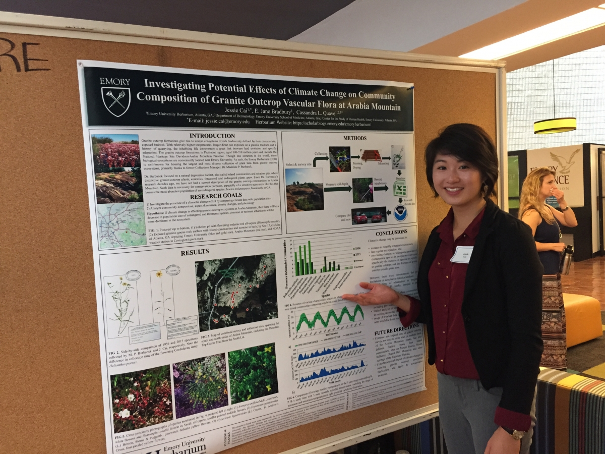 "Jessie Cai: ""Investigating community composition of granite outcrop vascular flora at Arabia Mtn"""